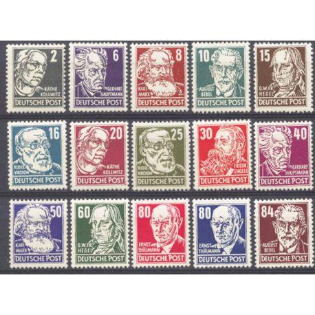 Briefmarke Sammlung die DDR N° Yvert und Tellier 91/105 neun mit Scharnier