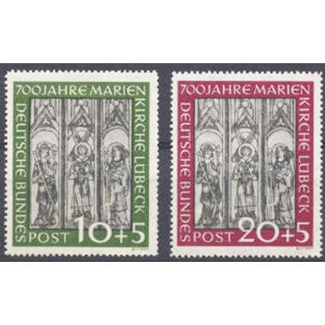 Briefmarke Sammlung die BRD N° Yvert und Tellier 25/26 neun mit Scharnier