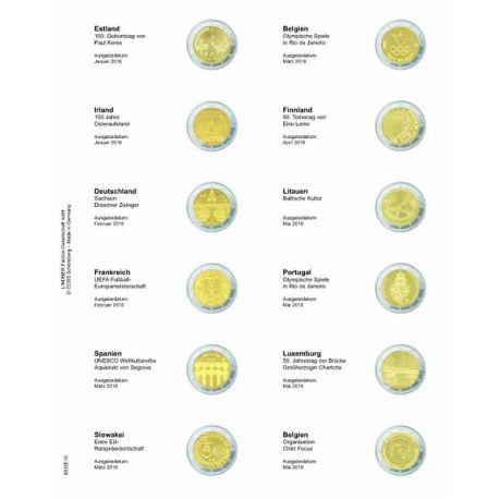 Feuille pour pièces 2 € commémoratives: Janvier 2016 - Mai 2016