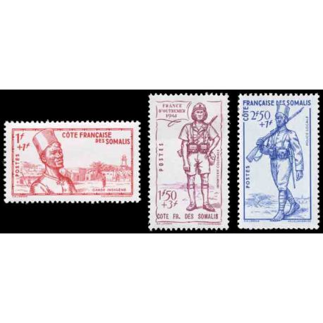 Francobollo collezione Cote del Somalis N° Yvert e Tellier 188/190 nove senza cerniera