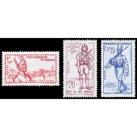 Timbre collection Cote des Somalis N° Yvert et Tellier 188/190 Neuf sans charnière