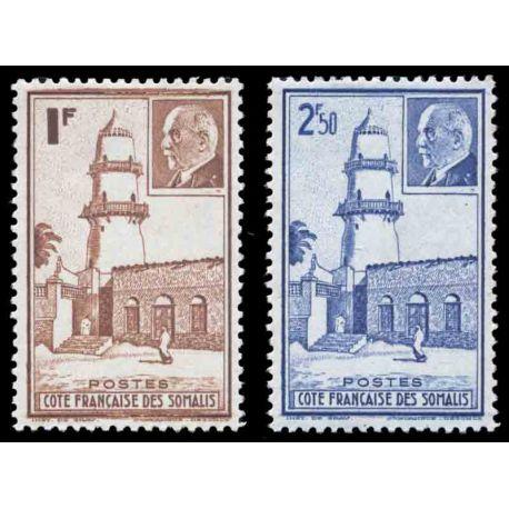 Timbre collection Cote des Somalis N° Yvert et Tellier 191/192 Neuf sans charnière