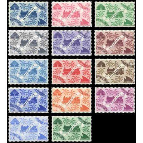 Francobollo collezione Cote del Somalis N° Yvert e Tellier 234/247 nove senza cerniera