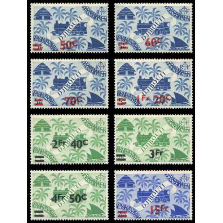 Francobollo collezione Cote del Somalis N° Yvert e Tellier 254/261 nove senza cerniera