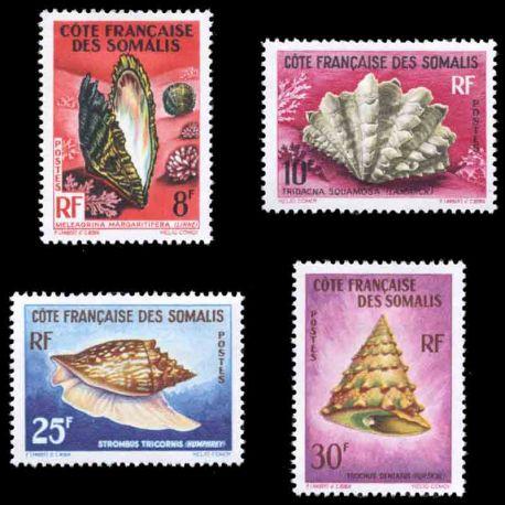 Francobollo collezione Cote del Somalis N° Yvert e Tellier 311/314 nove senza cerniera