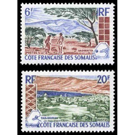 Timbre collection Cote des Somalis N° Yvert et Tellier 322/323 Neuf sans charnière