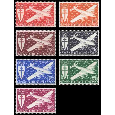 Francobollo collezione Cote del Somalis N° Yvert e Tellier PA 1/7 nove senza cerniera