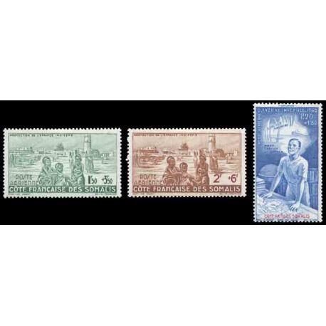 Francobollo collezione Cote del Somalis N° Yvert e Tellier PA 8/10 nove senza cerniera