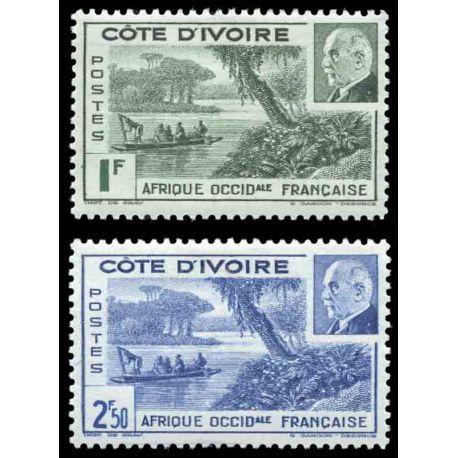 Francobollo collezione Costa d'Avorio N° Yvert e Tellier 169/170 nove senza cerniera