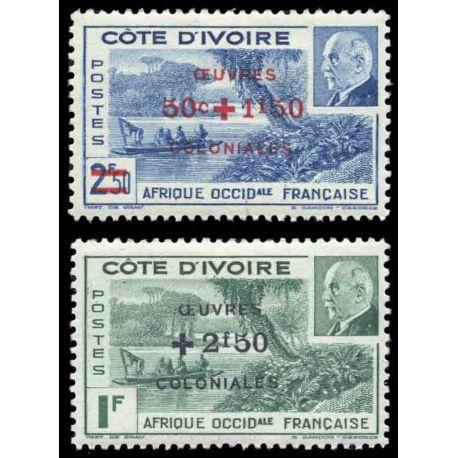Francobollo collezione Costa d'Avorio N° Yvert e Tellier 175/176 nove senza cerniera