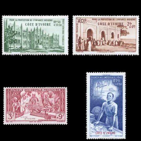 Francobollo collezione Costa d'Avorio N° Yvert e Tellier PA 6/9 nove senza cerniera