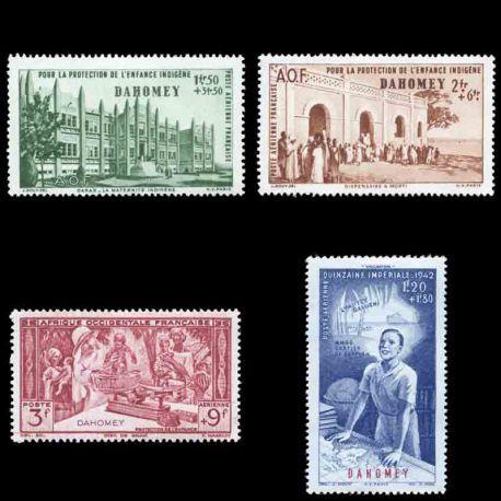 Francobollo collezione Dahomey N° Yvert e Tellier PA 6/9 nove senza cerniera