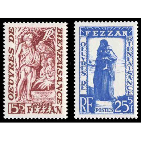 Francobollo collezione Fezzan N° Yvert e Tellier 54/55 nove senza cerniera