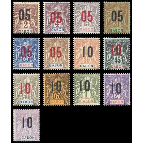 Francobollo collezione Gabon N° Yvert e Tellier 66/78 nove con cerniera