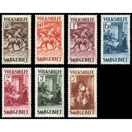 Timbre collection Sarre N° Yvert et Tellier 148/154 Neuf avec charnière