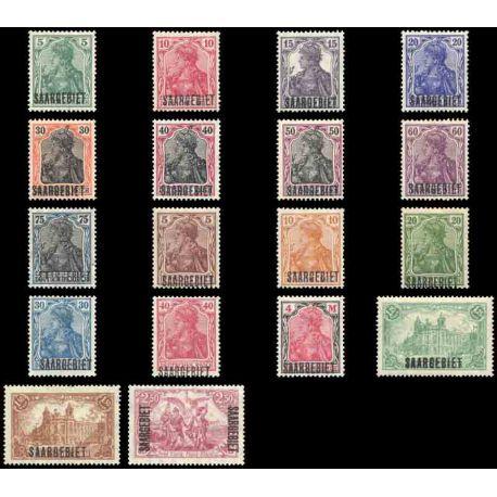 Timbre collection Sarre N° Yvert et Tellier 32/49 Neuf avec charnière