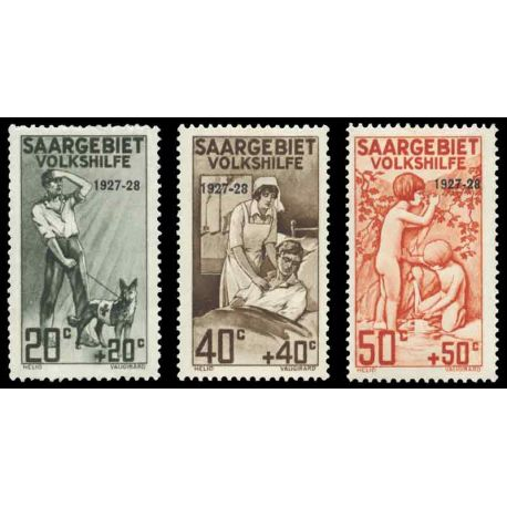 Timbre collection Sarre N° Yvert et Tellier 121/123 Neuf avec charnière