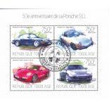 Blocco di 4 francobolli automobili Porsche del Togo