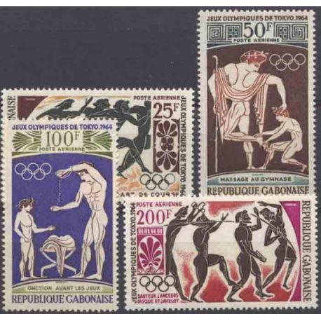 Francobollo collezione Gabon N° Yvert e Tellier PA 24/27 nove senza cerniera