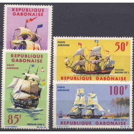 Francobollo collezione Gabon N° Yvert e Tellier PA 32/35 nove senza cerniera