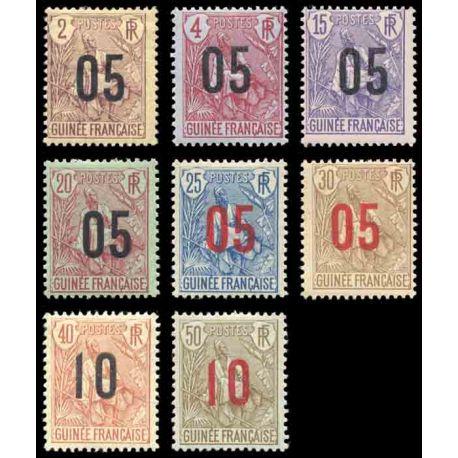 Francobollo collezione Guinea N° Yvert e Tellier 55/62 nove con cerniera