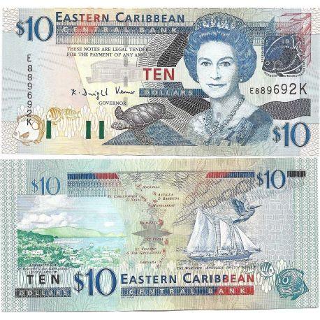 Caraibes etats de l'est- Pk N° 48 - Billet de 10 Dollars(Anguil)