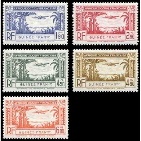 Francobollo collezione Guinea N° Yvert e Tellier PA 1/5 nove senza cerniera