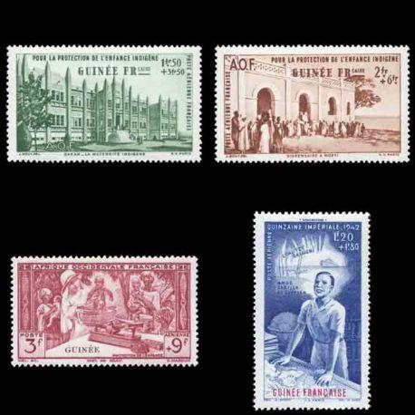 Francobollo collezione Guinea N° Yvert e Tellier PA 6/9 nove senza cerniera