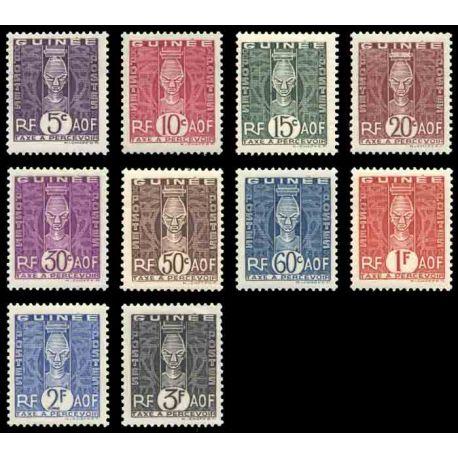 Timbre collection Guinée N° Yvert et Tellier TT 26/35 Neuf sans charnière