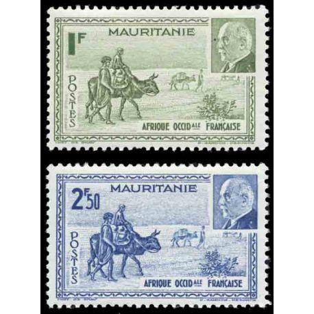Francobollo collezione Mauritania N° Yvert e Tellier 123/124 nove senza cerniera