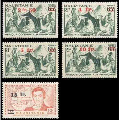 Francobollo collezione Mauritania N° Yvert e Tellier 133/137 nove senza cerniera