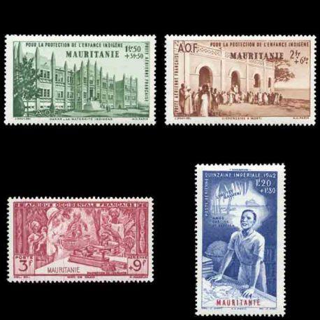 Francobollo collezione Mauritania N° Yvert e Tellier PA 6/9 nove senza cerniera