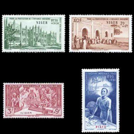 Francobollo collezione Niger N° Yvert e Tellier PA 6/9 nove senza cerniera