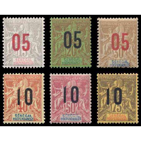 Timbre collection Sénégal N° Yvert et Tellier 47/52 Neuf avec charnière