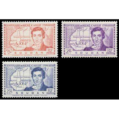 Francobollo collezione Sudan N° Yvert e Tellier 100/102 nove senza cerniera
