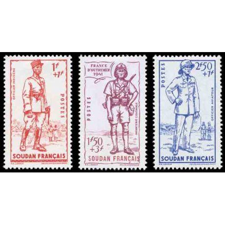 Francobollo collezione Sudan N° Yvert e Tellier 122/124 nove senza cerniera