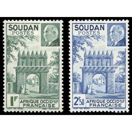 Briefmarke Sammlung der Sudan N° Yvert und Tellier 129/130 neun ohne Scharnier