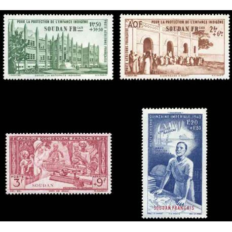 Francobollo collezione Sudan N° Yvert e Tellier PA 6/9 nove senza cerniera