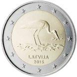 Latvia - 2 Euro commemorative 2015 black Stork