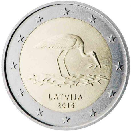 Lettonie - 2 Euro commémorative 2015 Cigogne noire