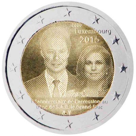 Luxemburg - 2 Euro Gedächtnis- 2015 Ausbreitung am Thron von S.A.R der Großherzog