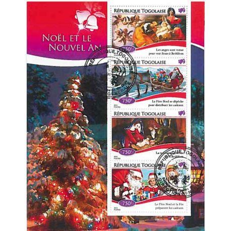 Bloc de 4 timbres Noel du Togo