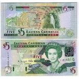 Colección de billetes Estados Del Caribe Oriental Pick número 42 - 5 Dollar 2003