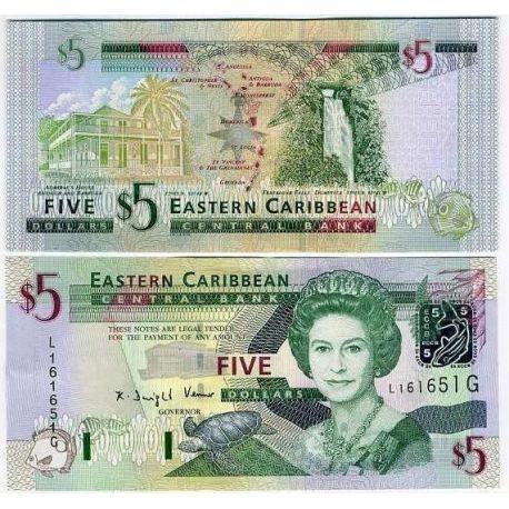 Caraibes etats de l'est - Pk N° 42 - Billet de 5 dollars