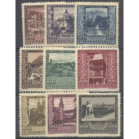 Briefmarke Sammlung Österreich N° Yvert und Tellier 304/312 neun mit Scharnier