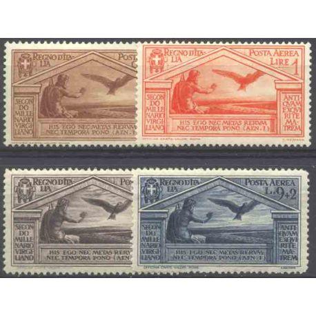Briefmarke Sammlung Italien N° Yvert und Tellier PA 21/24 neun mit Scharnier