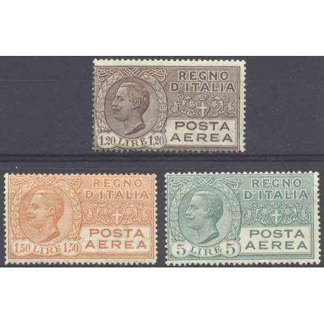 Briefmarke Sammlung Italien N° Yvert und Tellier PA 7/9 neun mit Scharnier