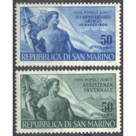 Sello colección San Marino N° Yvert y Tellier 411/412 Nueve sin bisagra