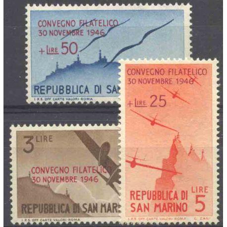 Sello colección San Marino N° Yvert y Tellier PA 52A/52C Nuevo sin bisagra