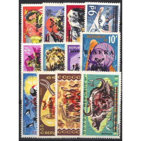 Francobollo collezione Biafra N° Yvert e Tellier 9/21 nove senza cerniera